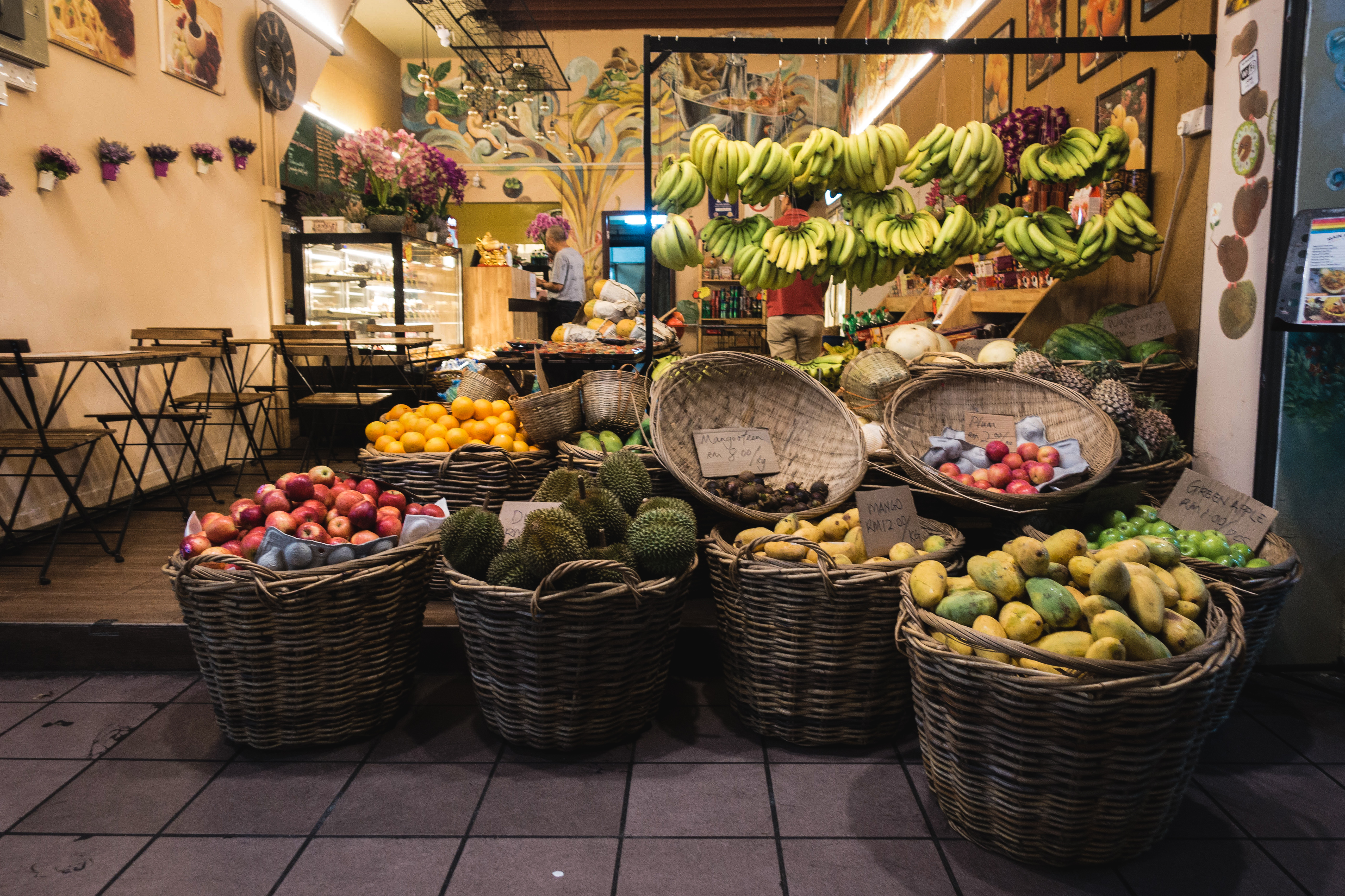 Exotic fruit store at night
