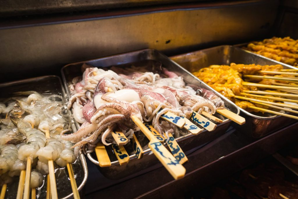 Octopus on skewer for hot pot