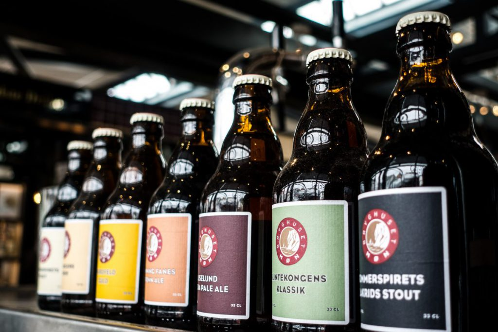 Small brewery beer bottles