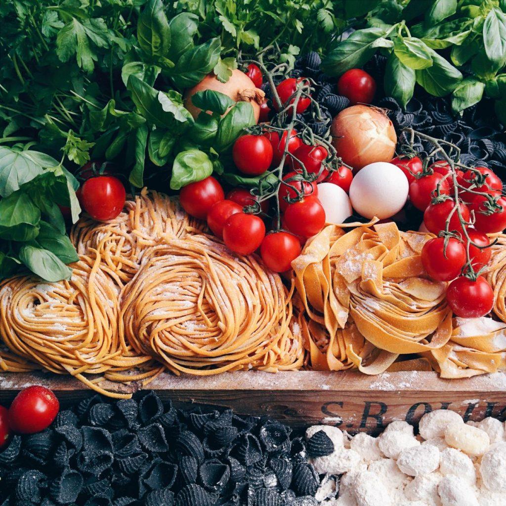 Amazing colorful Italian cuisine ingredients