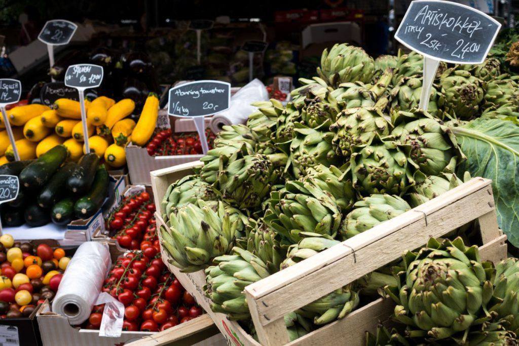 Artichokes at a farmers market