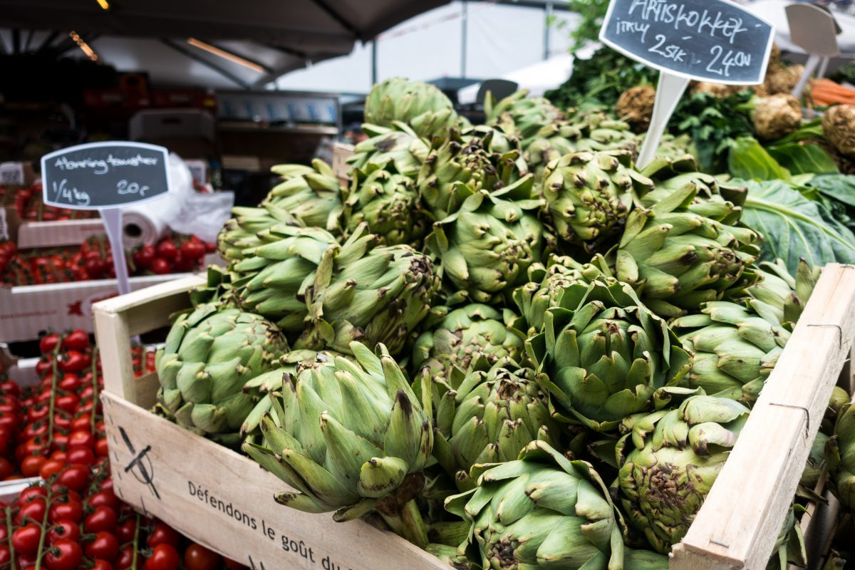 Artichokes at a farmers market