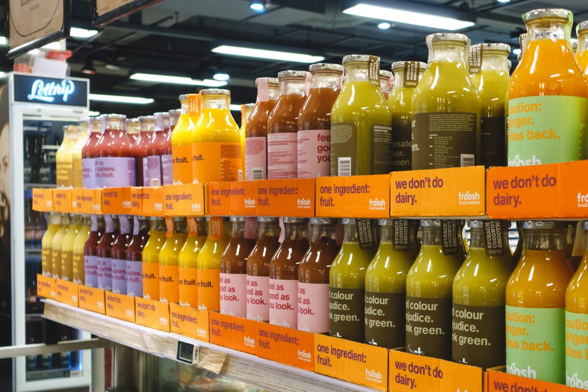 Fruit juices in supermarket