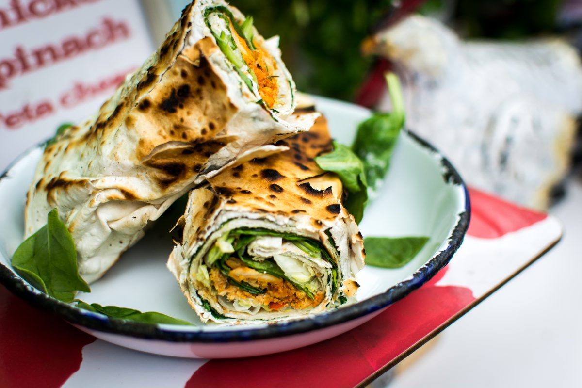Healthy vegetarian wrap with spinach