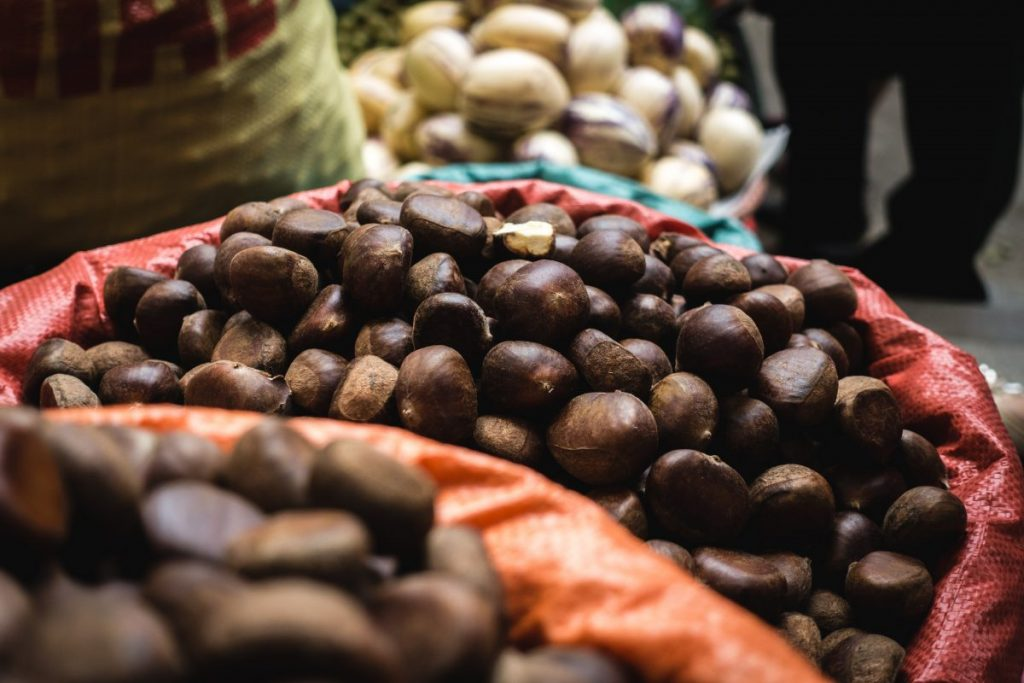 Chestnuts at a farmers market