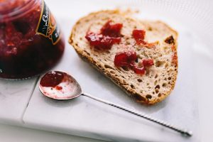 Bread with jam close up