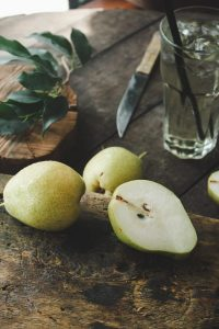 Cut pear in half