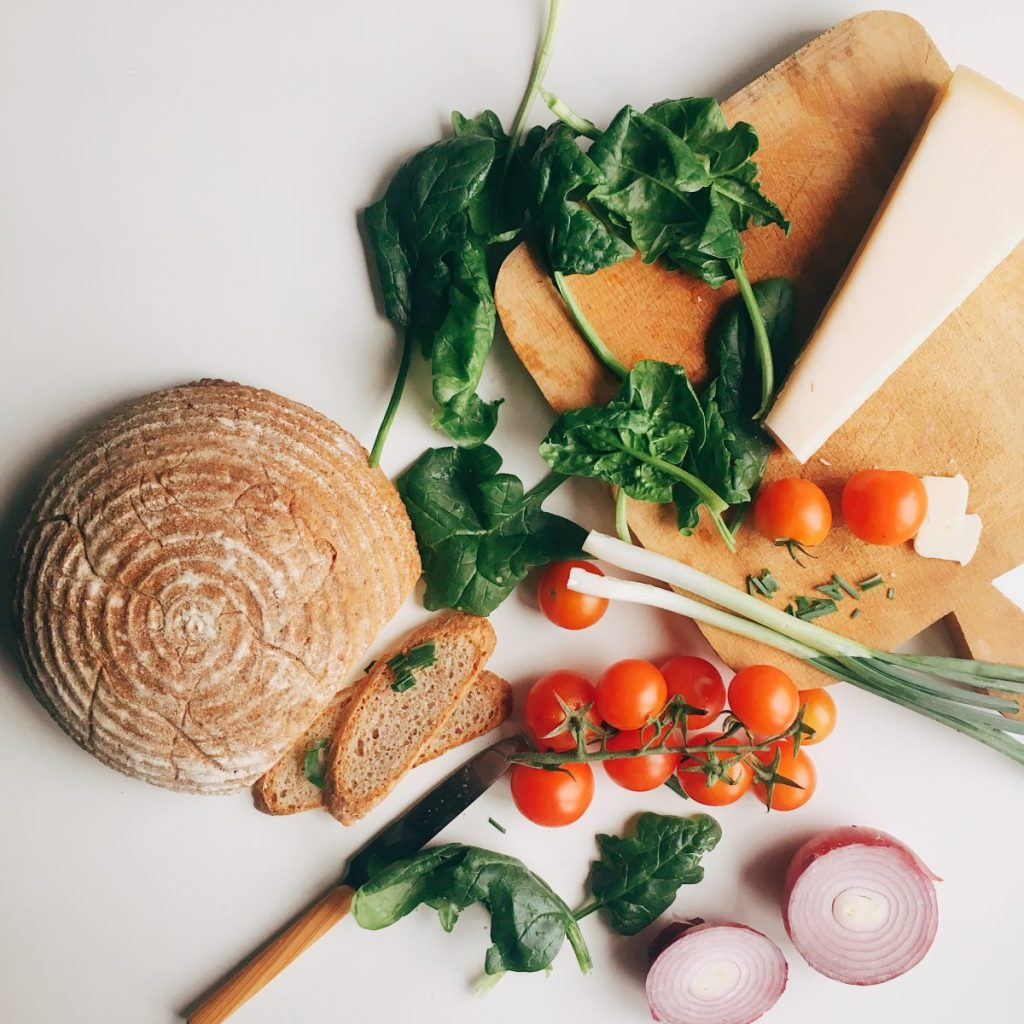 Healthy ingredients for salad with bread