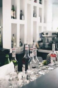 Liqueur syrup bottles on bar