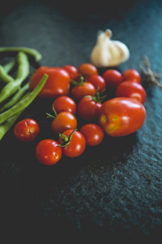 Tomatoes and other freshly harvested vegetables