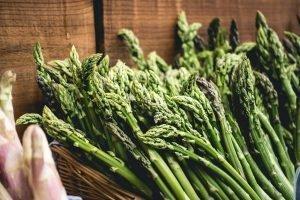 Asparagus at farmers market close up