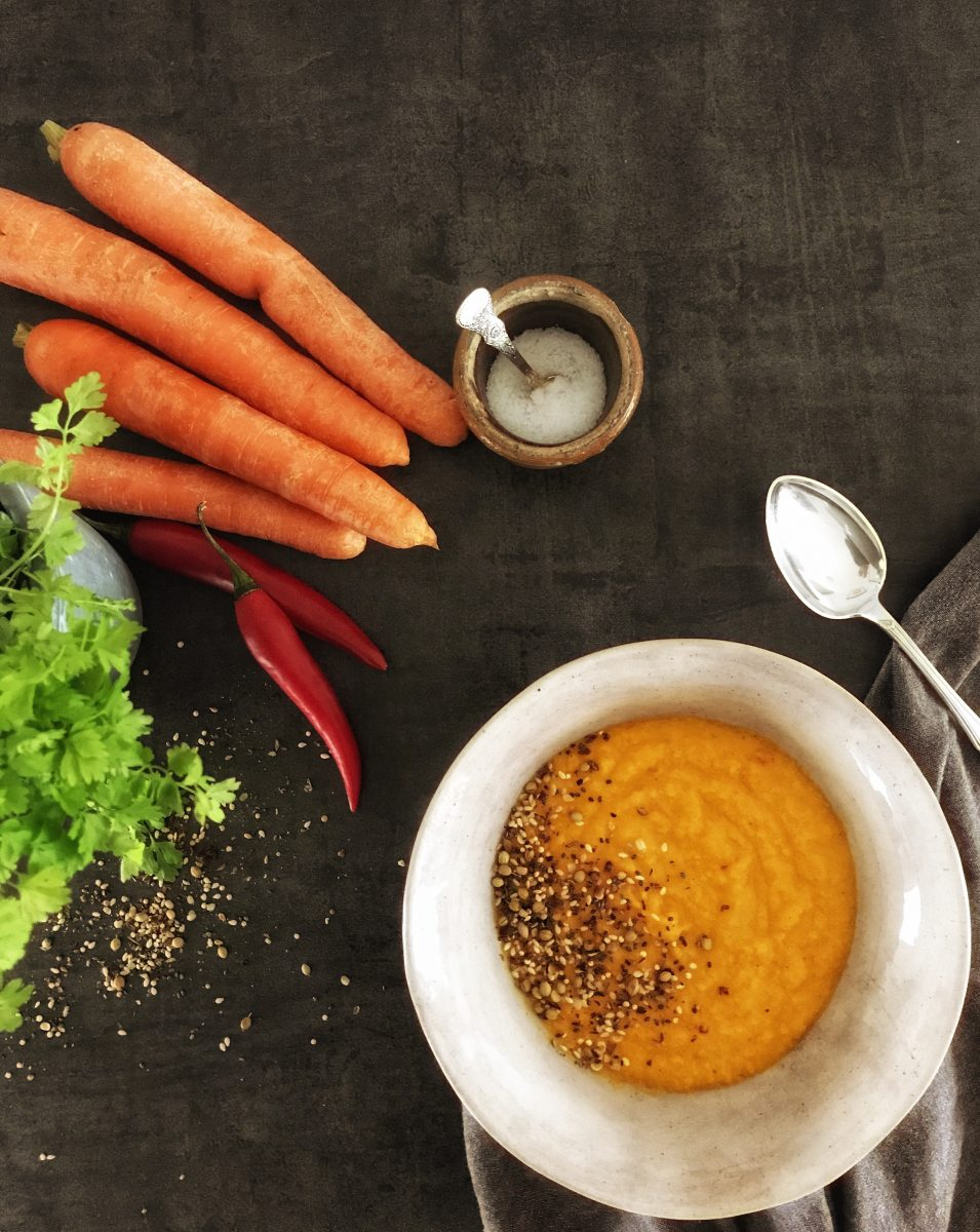 Carrot soup with ingredients