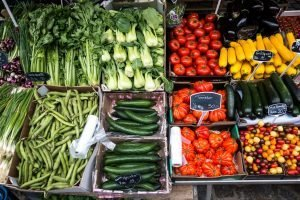 Colorful vegetables at a market