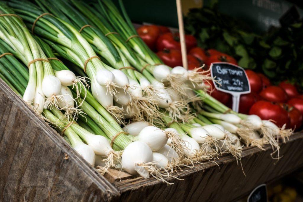 Fresh scallion at a market