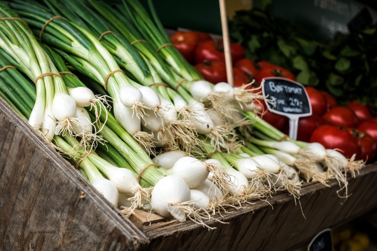 Fresh scallion at a market