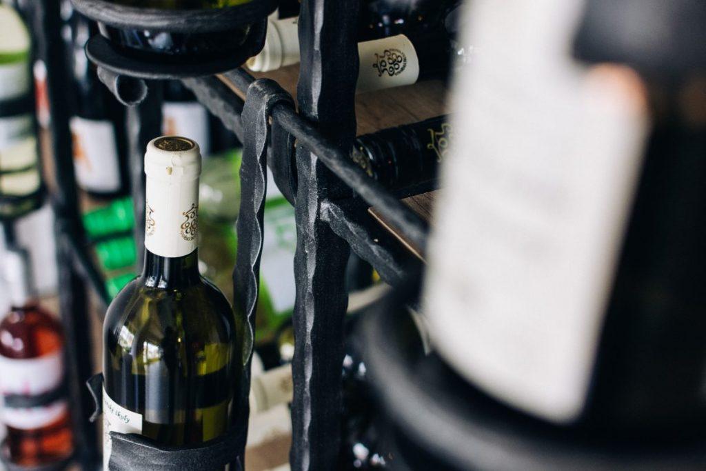 Wine bottles in a wine store