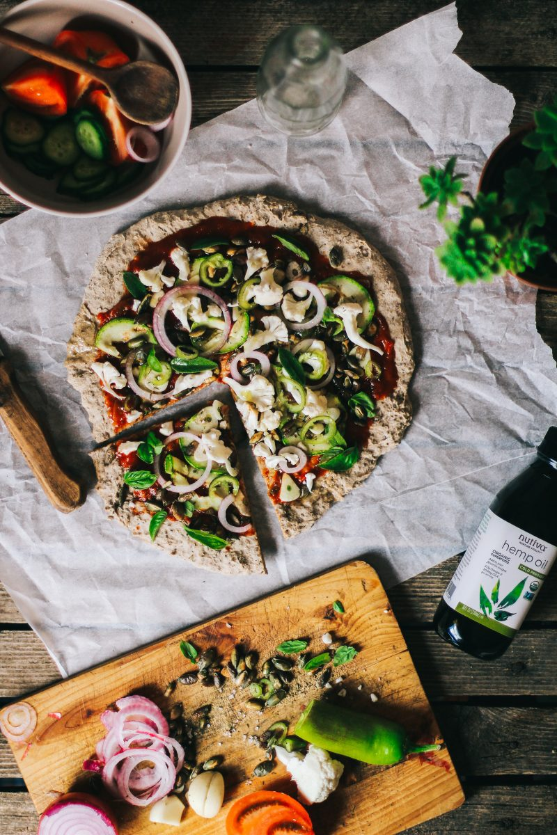 Healthy vegan chia flour pizza