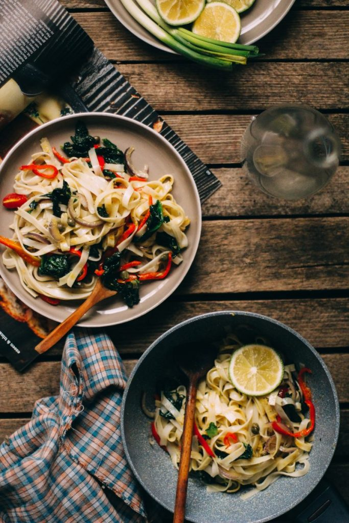 Pair of rice noodles dishes