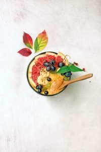 Pumpkin pie oatmeal with fresh fruit