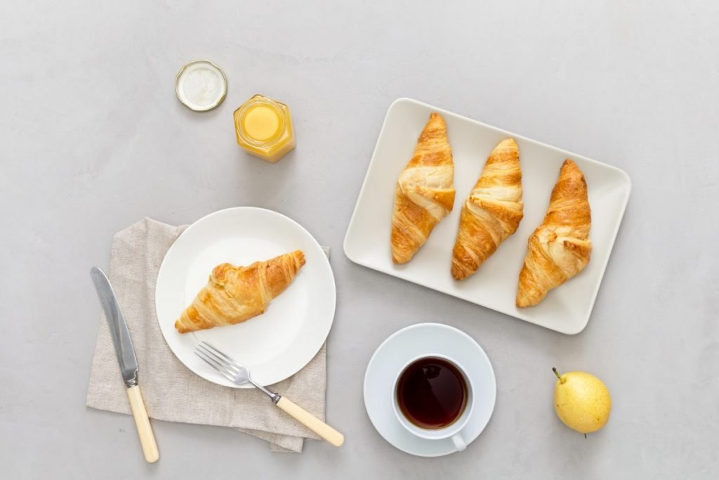 Croissants and tea for breakfast