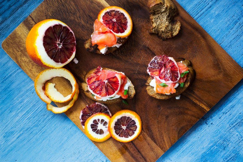 Salmon and blood orange bruschettas