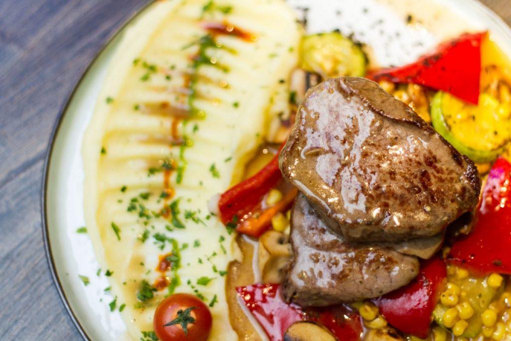 Juicy beef steak close up