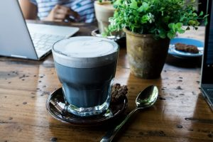 Charcoal black coffee cappuccino