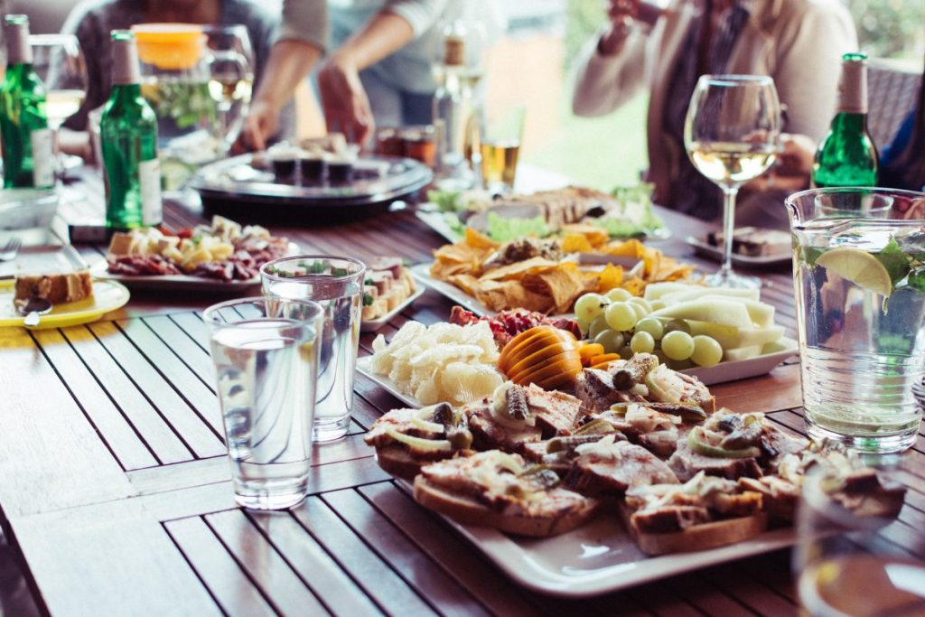 Food and drinks on a summer garden party