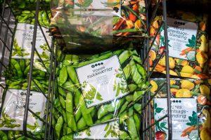 Frozen peas in a supermarket