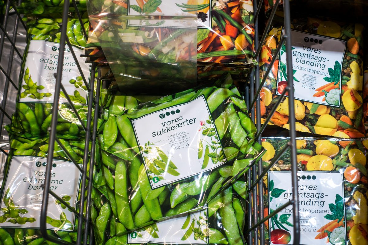 Frozen peas in a supermarket