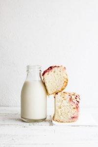 Homemade bun cake with glass of milk