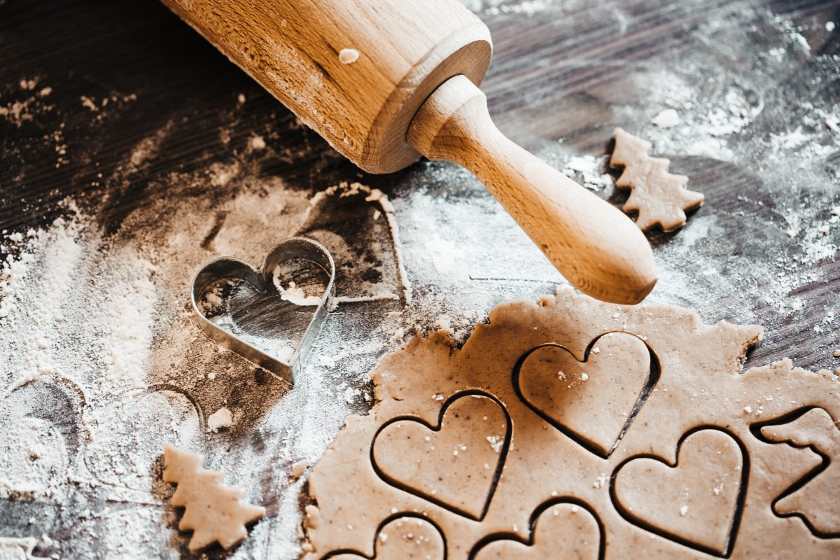 Baking cute Christmas gingerbread hearts