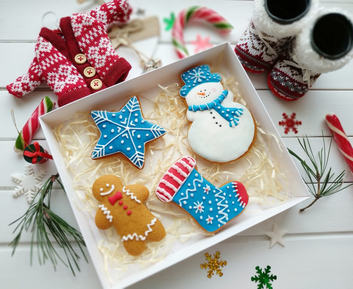Cute colorful Christmas gingerbread cookies