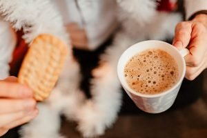 Cozy atmosphere with hot chocolate and biscuits