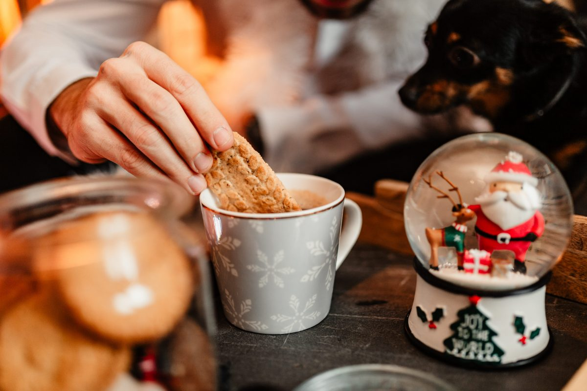 Cozy Christmas mood with hot chocolate and biscuits