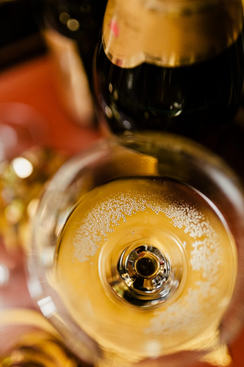 Detail of New Year's Eve glass of champagne