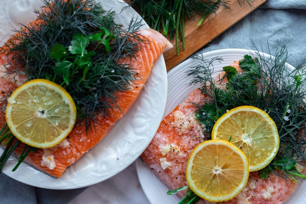 Ingredients for making healthy salmon Gravlax