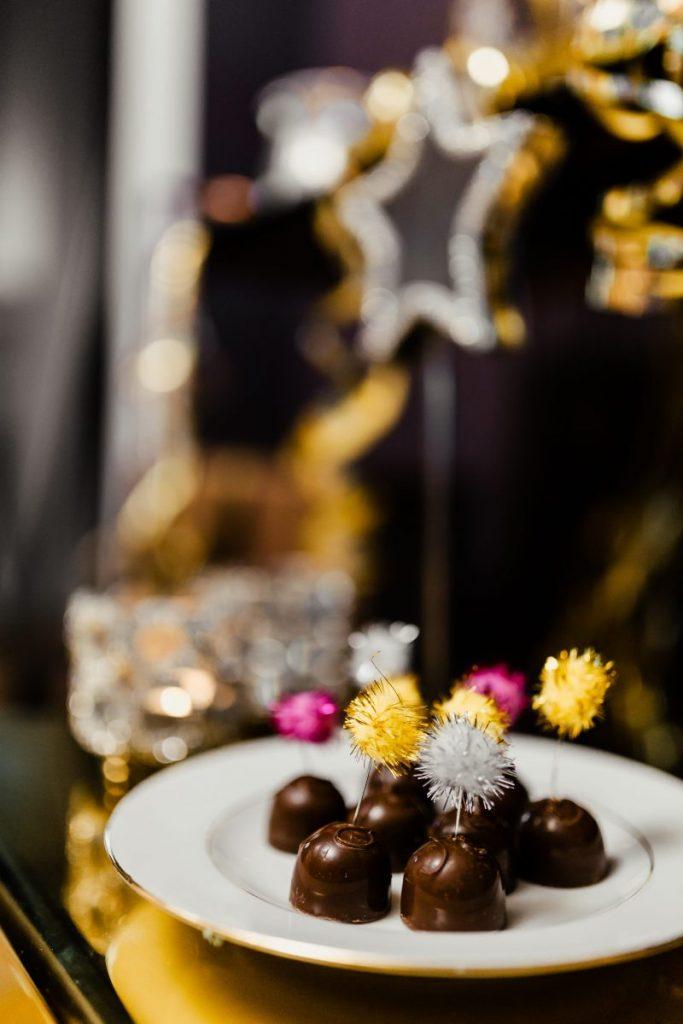 Homemade chocolate pralines on New Year's Eve