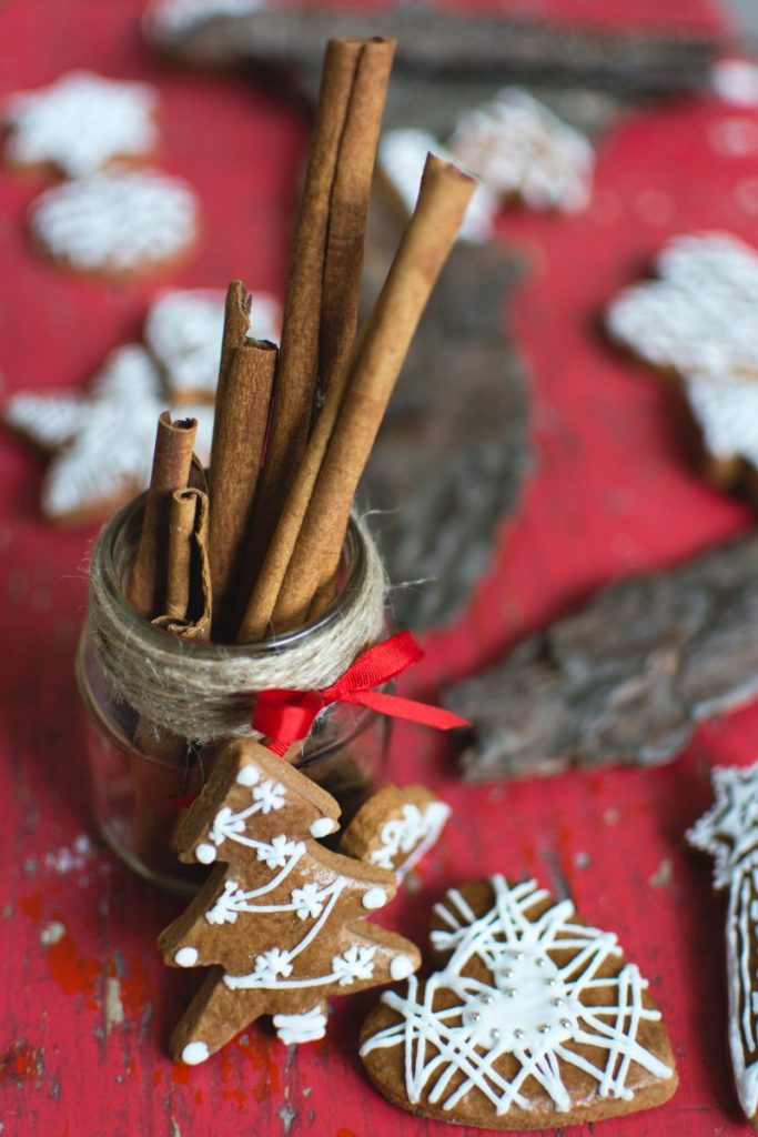 Homemade Christmas gingerbread tree with dried cinnamon sticks