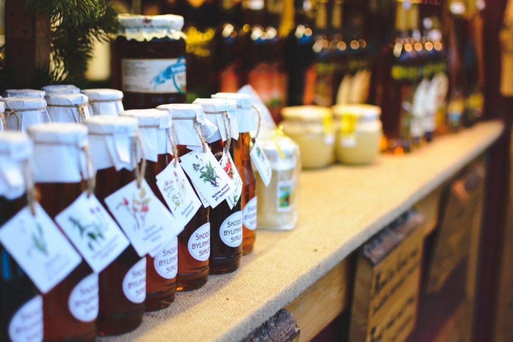 Natural herbal syrups on Christmas market