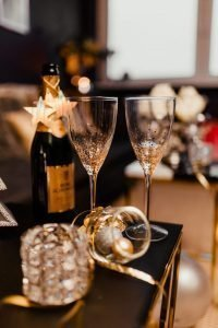New Year's Eve celebration with champagne