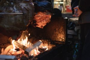 Pork meat barbecue in winter