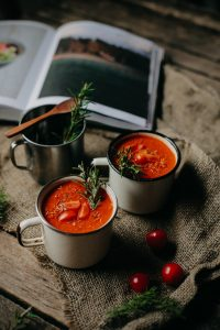 Tomato soup in a tin mug
