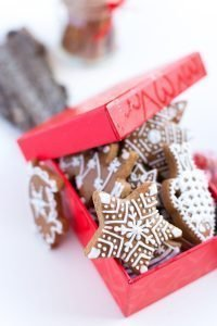 Traditional Christmas gingerbreads in a red paper box