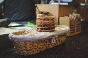 Traditional Czech Trdelnik sweet pastry at Prague Christmas market
