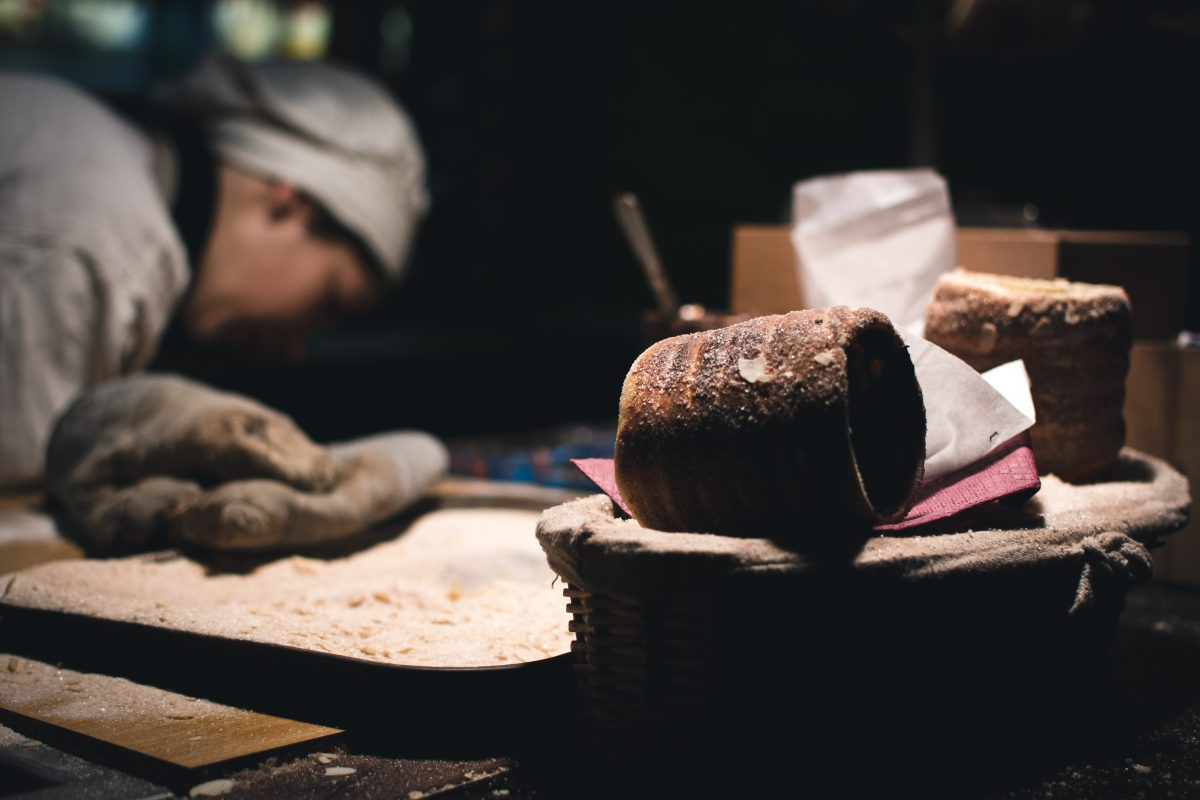 Traditional Czech Trdelnik sweet pastry at Prague Christmas market