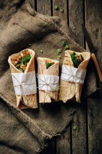 Healthy vegan wraps