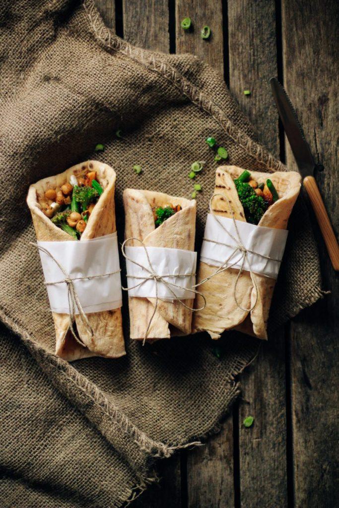 Healthy vegan wraps