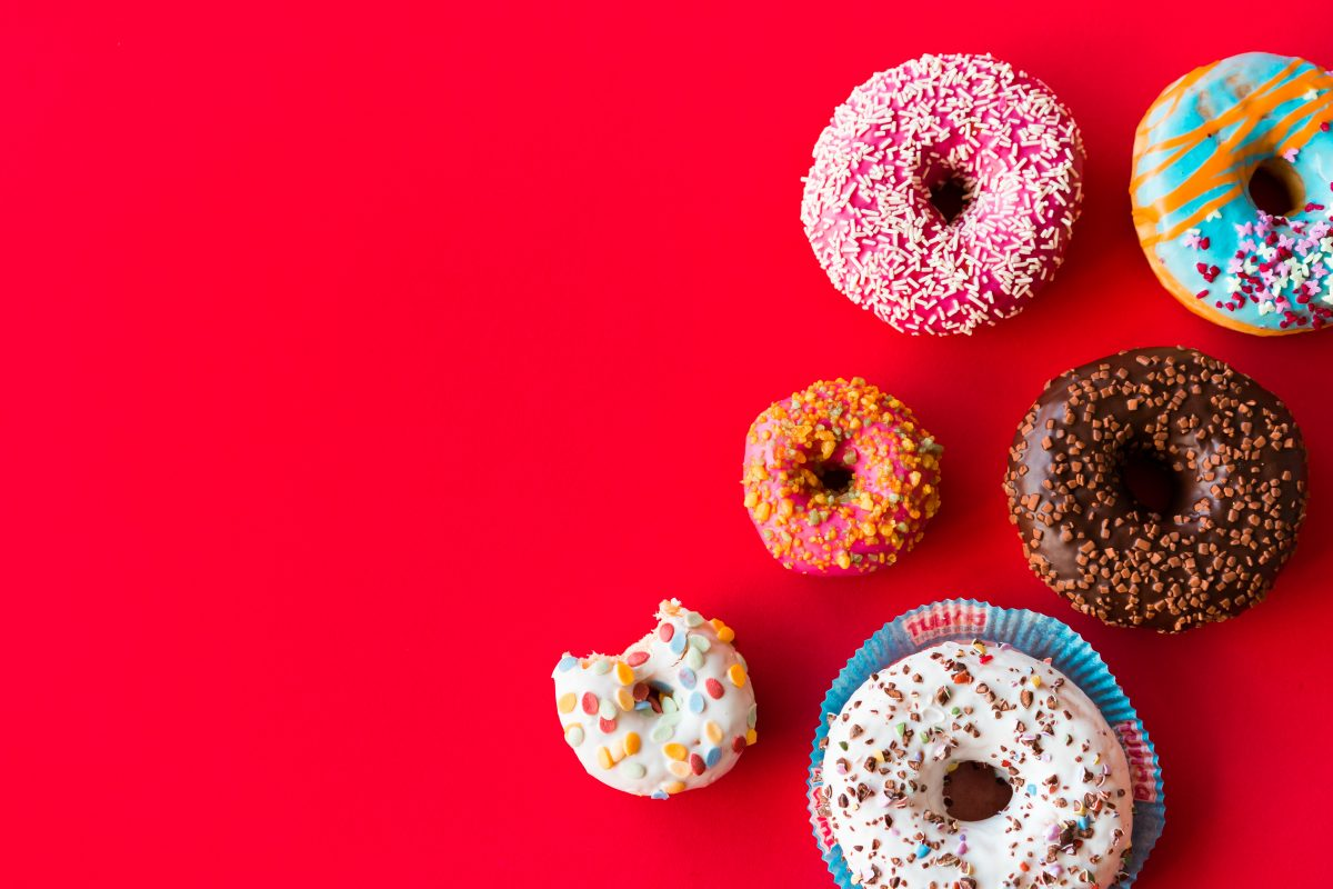 Bright colorful donuts