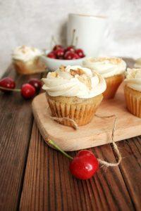 Cupcakes with fresh cherries